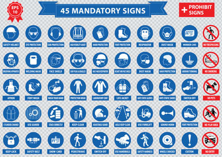 mandatory signs, construction health, safety sign used in industrial applications safety helmet, gloves, ear protection, eye protection, foot protection, hairnet, respirator, mask, antistatic, apron