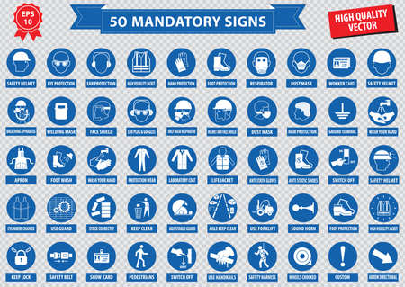 health dangers: mandatory signs, construction health, safety sign used in industrial applications safety helmet, gloves, ear protection, eye protection, foot protection, hairnet, respirator, mask, antistatic, apron