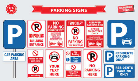 entrance sign: Car Parking Sign car parking area, ramp access, customer only, employee parking, way in, way out, visitor parking, building entrance. easy to modify. Illustration