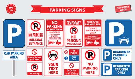 Parkeer Teken parkeerplaats gebied, oprit, de klant alleen, werknemer parking, manier, uitweg, parkeerplaatsen voor bezoekers, het bouwen entree. makkelijk aan te passen. Vector Illustratie