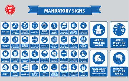 verplichte borden, bouw gezondheid, veiligheid teken gebruikt in industriële toepassingen veiligheidshelm, handschoenen, gehoorbescherming, oogbescherming, voetbescherming, haarnetje, respirator, masker, antistatisch, schort Vector Illustratie
