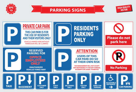 rules of road: Car Parking Sign car parking area, ramp access, customer only, employee parking, way in, way out, visitor parking, building entrance, pedestrian, loading dock, ticket, valet parking, taxi parking.