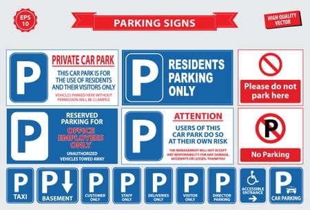 Parking parking Signe de voiture, rampe d'accès, client uniquement, stationnement des employés, manière, sortir, le stationnement des visiteurs, la construction de l'entrée, piéton, quai de chargement, billets, un parking avec voiturier, parking de taxi.