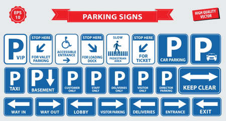 Car Parking Sign car parking area, ramp access, customer only, employee parking, way in, way out, visitor parking, building entrance, pedestrian, loading dock, ticket, valet parking, taxi parking.