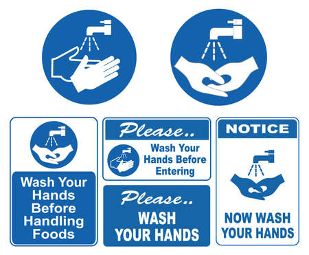 Wash Your Hands Signs  イラスト・ベクター素材