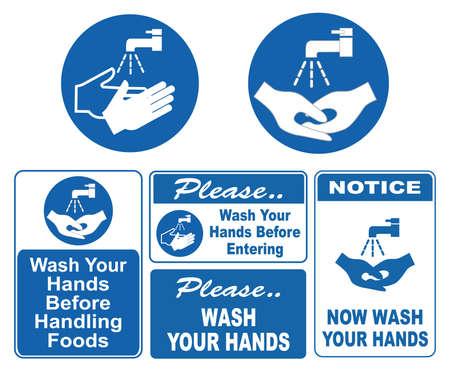 Myj ręce znaki Ilustracje wektorowe