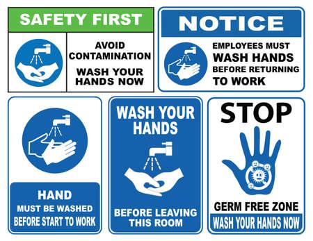 señales de seguridad: Lávese las manos con signos