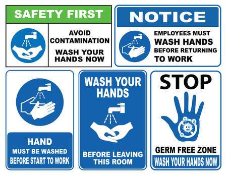 wash: Wash Your Hands Signs Illustration
