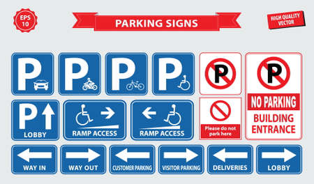 building entrance: Car Parking Sign car parking area, ramp access, customer only, employee parking, way in, way out, visitor parking, building entrance. easy to modify. Illustration