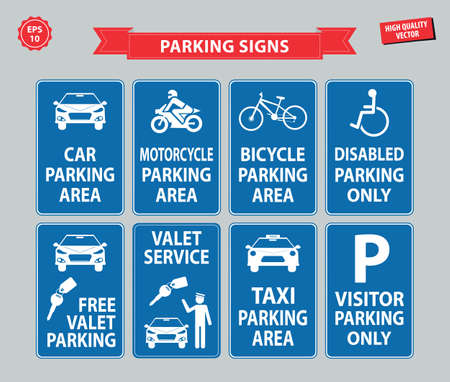 disabled parking sign: Car Parking Sign (car parking area, motorcycle, bicycle, disabled parking only, free valet parking, valet service, taxi parking, visitor parking only)