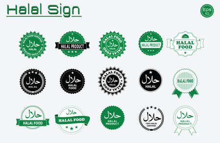 Halal food labels vector set. Badges, logo, tag round, and label design. suitable for banner, flyer, trade mark, and other advertising raw materials.  easy to modify Stok Fotoğraf - 60900182