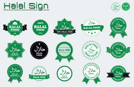 Halal food labels vector set. Badges, logo, tag round, and label design. suitable for banner, flyer, trade mark, and other advertising raw materials.  easy to modify 版權商用圖片 - 60900184