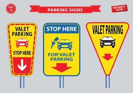 valet: Valet Parking signs (free valet parking, valet service, VIP, stop  for valet parking). easy to modify Illustration