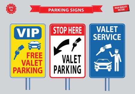valet: Valet Parking signs (free valet parking, valet service VIP, stop here for valet parking). easy to modify Illustration