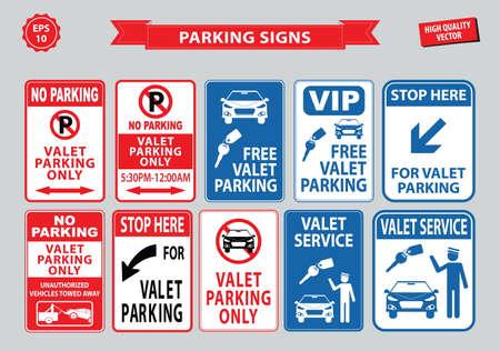 valet: Valet Parking signs (free valet parking, valet service, VIP stop here for valet parking). easy to modify Illustration
