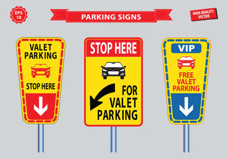 valet: Valet Parking signs (free valet parking, valet service, VIP, stop here for valet parking). easy to modify
