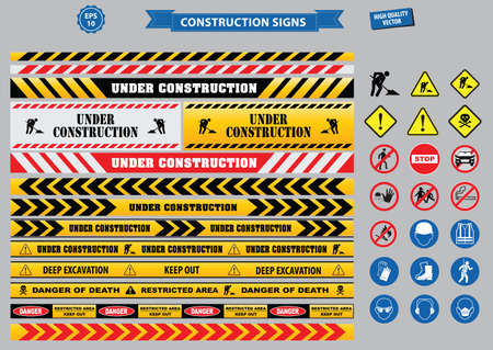 hard times: Set of Construction sign (warning, site safety, use hard hat,children must not play on this site, no admittance to unauthorized personnel, safety hard helmet- boots and vest must be worn at all times)