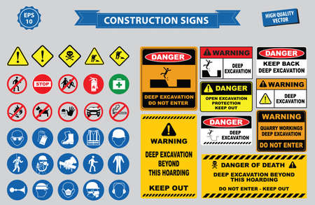 dangers: Set of Construction sign (warning, site safety, use hard hat,children must not play on this site no admittance to unauthorized personnel, safety hard helmet, boots and vest must be worn at all times) Illustration