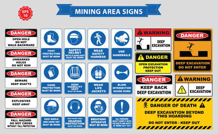 safety goggles: Mining mandatory sign (safety helmet with flashlight must be worn, use handrails, dust mask, breathing apparatus, goggles, hearing protection, fasten seat belts, sound horn) Illustration