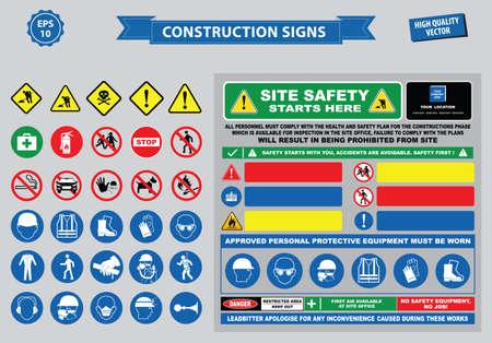 Set van bouw-teken (waarschuwing, veiligheid site, gebruik helm, moeten kinderen niet spelen op deze site geen toegang onbevoegd personeel, veiligheid harde helm, laarzen en vest moet gedragen worden ten alle tijden)