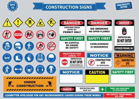 Set of Construction sign (warning, site safety, use hard hat,children must not play on this site, no admittance to unauthorized personnel, safety hard helmet, boots and vest must  worn at all times) Vectores
