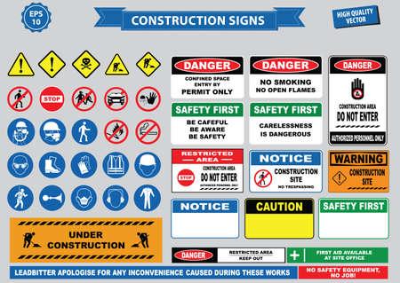 signos de precaucion: Conjunto de muestra de la construcción (advertencia, la seguridad del sitio, utilizar casco de seguridad, los niños no deben jugar en este sitio, prohibido el acceso a personas no autorizadas, casco duro de seguridad, botas y chaleco imprescindible usar en todo momento) Vectores