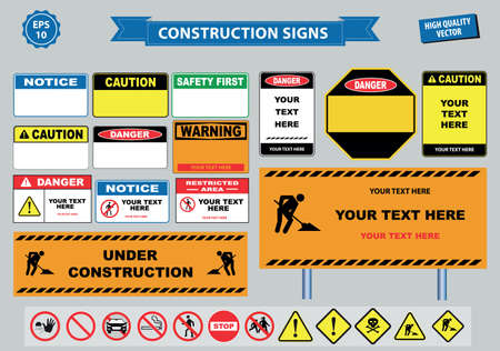 warning vest: Set of Construction sign (warning, site safety, use hard hat,children must not play on this site, no admittance to unauthorized personnel, safety hard helmet, boots vest must be worn at all times) Illustration