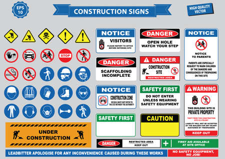 Set of Construction sign (warning, site safety, use hard hat,children must not play on this site, no admittance to unauthorized personnel, safety helmet, boots and vest must be worn at all times) Vettoriali