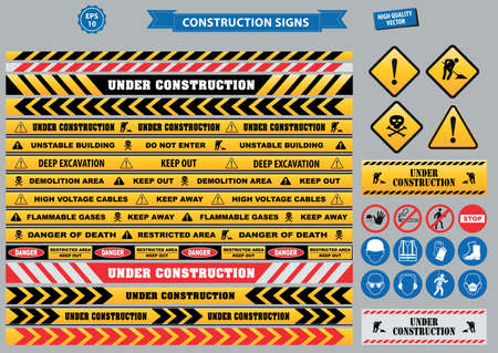 hard times: Set of Construction sign (warning, site safety, use hard hat,children must not play on this site, no admittance to unauthorized personnel safety hard helmet, boots and vest must be worn at all times)