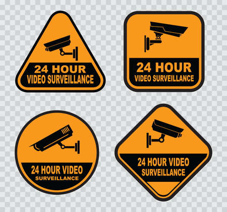 closed circuit: set of Closed Circuit Television (CCTV) Signs.