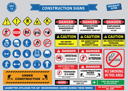 Set of Construction sign warning, site safety, use hard hat,children must not play on this site, no admittance to unauthorized personnel, safety hard helmet boots and vest must be worn at all times) Stock Illustratie