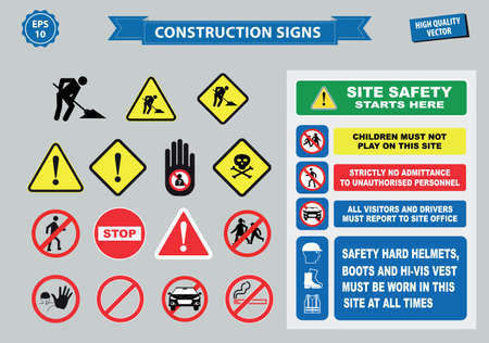 avoid: Set of Construction sign (  warning site safety, use hard hat,children must not play on this site, no admittance to unauthorized personnel, safety hard helmet, boots and vest must be worn at all times) Illustration