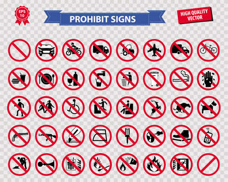 set of prohibited sign ( do not smoking, no drinking and eating, do not litter, no entry, no cellular phone, car prohibit sign, motorcycle prohibit sign, bicycle prohibit sign ) easy to modify Vettoriali