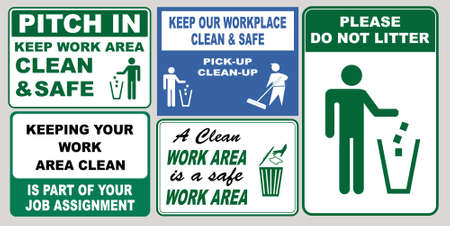 set of Clean sticker sign for plant site outdoor (please do not litter, keep your work area clean, please use containers provided, clean and tidy, this your home five days or the week, clean & orderly 일러스트
