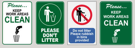 set of Clean sticker sign for plant site outdoor (please do not litter, keep your work area clean, please use containers provided, clean and tidy, this your home five days or the week, clean & orderly Stock fotó - 94243599