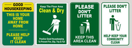 set of Clean sticker sign for plant site outdoor (please do not litter, keep your work area clean, please use containers provided, clean and tidy, this your home five days or the week, clean & orderly Banco de Imagens - 94243600