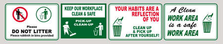 set of Clean sticker sign for plant site outdoor (please do not litter, keep your work area clean, please use containers provided, clean and tidy, this your home five days or the week, clean & orderly Иллюстрация