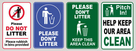 set of Clean sticker sign for plant site outdoor (please do not litter, keep your work area clean, please use containers provided, clean and tidy, this your home five days or the week, clean & orderly Illustration