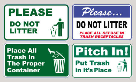 set of Clean sticker sign for plant site outdoor (please do not litter, keep your work area clean, please use containers provided, clean and tidy, this your home five days or the week, clean & orderly Stock Illustratie