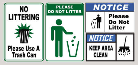 set of Clean sticker sign for plant site outdoor (please do not litter, keep your work area clean, please use containers provided, clean and tidy, this your home five days or the week, clean & orderly Illusztráció