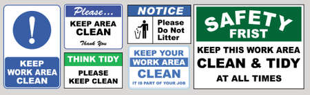set of Clean sticker sign for plant site outdoor (please do not litter, keep your work area clean, please use containers provided, clean and tidy, this your home five days or the week, clean & orderly Stock fotó - 94243620