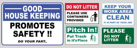 屋外の植物サイトのためのきれいなステッカーサインのセット(ごみを捨てないでください、あなたの作業領域をきれいにしてください、提供さ
