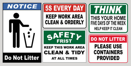Clean sticker sign for office (please do not throw rubbish, do not litter, help keep your community clean, pitch in, home away from home, place rubbish in bins provided, keep clean)