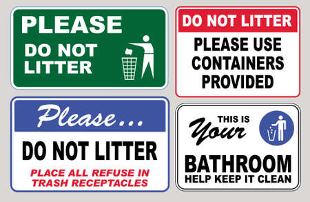 Clean sticker sign for office please do not throw rubbish do not litter