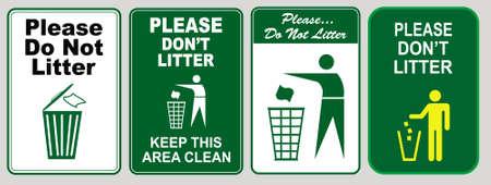 Maak stickerbord schoon voor kantoor (gooi alsjeblieft geen afval, gooi geen afval, help je gemeenschap schoon te houden, pitch in, thuis weg van huis, plaats afval in de daarvoor bestemde vuilnisbakken, blijf schoon) Stock Illustratie