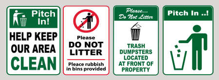 Clean sticker sign for office (please do not throw rubbish, do not litter, help keep your community clean, pitch in, home away from home, place rubbish in bins provided, keep clean) Фото со стока - 94243513