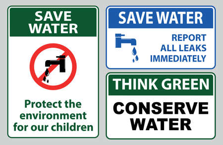 Save water off sign with text report all leaks immediately, conserve water, turn off the water, turn off the tap, stop water waste.