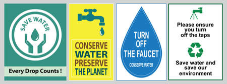 Save water quote (protect the environment for our future, shut if off, please conserve water, recycled water in use, wash hands after contact). Banque d'images - 96758103