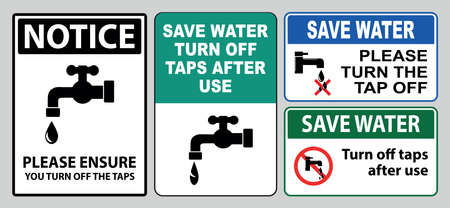 Save water sign (turn off the tap off, stop water waste, conserve water, please turn off taps water after use, report leaks).