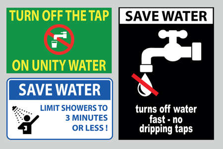 Save water off sign (report all leaks immediately, conserve water, turn off the water, turn off the tap, stop water waste).
